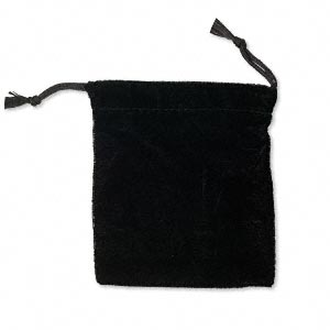 pouch, velvet, black, 4-1/2 x 4 inches with drawstring. sold per pkg of 12.
