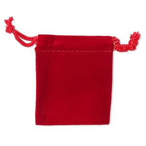 pouch, velveteen and cotton, red, 2-1/2 x 2-inch square with drawstring closure. sold per pkg of 25.
