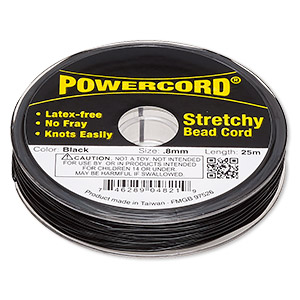 powercord, elastic, black, 0.8mm, 8.5-pound test. sold per 25-meter spool.