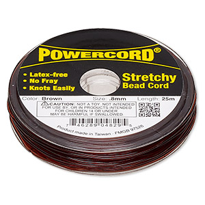 powercord, elastic, brown, 0.8mm, 8.5-pound test. sold per 25-meter spool.