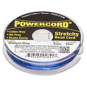 powercord, elastic, medium blue, 0.4mm, 3.5-pound test. sold per 25-meter spool.