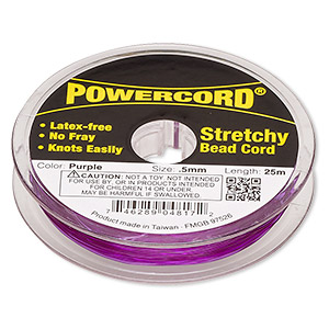 powercord, elastic, purple, 0.5mm, 4-pound test. sold per 25-meter spool.