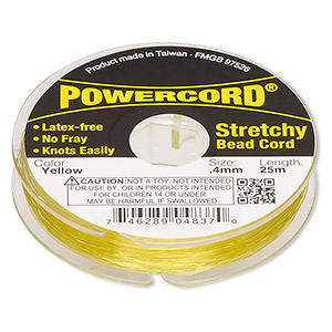 powercord, elastic, yellow, 0.4mm, 3.5-pound test. sold per 25-meter spool.