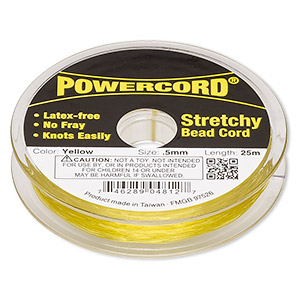 powercord, elastic, yellow, 0.5mm, 4-pound test. sold per 25-meter spool.