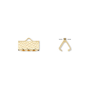 ribbon crimp end, gold-plated brass, 10x5mm hammered rectangle. sold per pkg of 100.