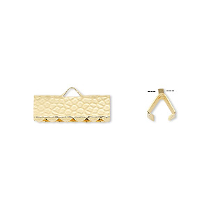 ribbon crimp end, gold-plated brass, 14x5mm hammered rectangle. sold per pkg of 100.