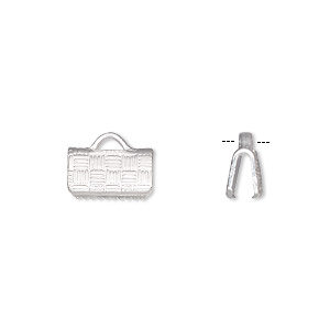 ribbon crimp end, silver-plated brass, 10x6mm textured rectangle. sold per pkg of 100.