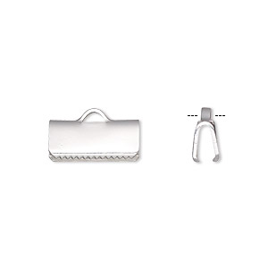 ribbon crimp end, silver-plated brass, 13x5mm smooth rectangle. sold per pkg of 10.