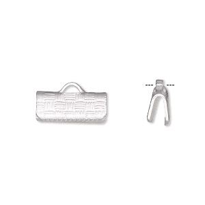 ribbon crimp end, silver-plated brass, 13x6mm textured rectangle. sold per pkg of 100.