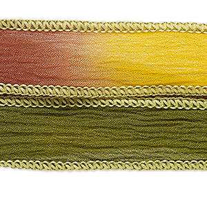 ribbon, silk, autumn, 5/8 inch crinkled. sold per pkg of 34 inches.