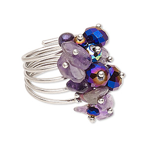 ring, amethyst (natural) / cultured freshwater pearl (dyed) / glass / imitation rhodium-finished steel, purple and metallic purple, 19mm wide, size 7-1/2. sold individually.