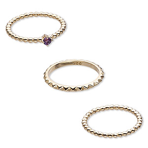 ring, amethyst (natural) and gold-finished sterling silver, 2mm wide spiked band / 2mm / 4mm wide beaded band, size 8. sold per 3-piece set.