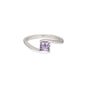 ring, amethyst (natural) and sterling silver, 7mm wide with 7x5mm faceted square, size 7. sold individually.
