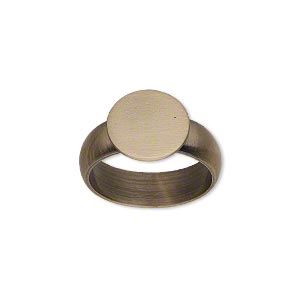 ring, antique brass, 6mm wide, 12mm round flat pad setting, size 7. sold individually.