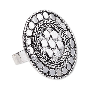 ring, antique silver-plated pewter (zinc-based alloy), 35mm round, adjustable. sold individually.