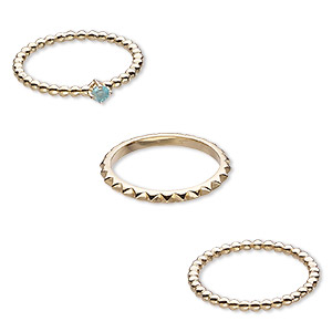 ring, apatite (natural) and gold-finished sterling silver, 2mm wide spiked band / 2mm / 4mm wide beaded band, size 8. sold per 3-piece set.