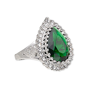 ring, austrian crystal / glass / silver-plated brass, emerald green and clear, 27x21mm teardrop, size 10. sold individually.