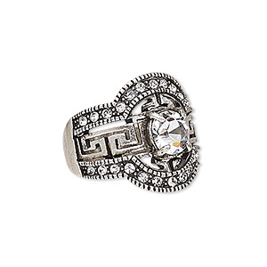 ring, austrian crystal and antique silver-plated pewter (zinc-based alloy), clear, 20mm wide with fancy greek key design, size 8. sold individually.