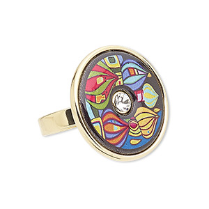 ring, avant-garde jewelry collection, enamel / czech glass rhinestone / gold-plated brass, multicolored, 25mm flat round with abstract design, size 8-1/2. sold individually.