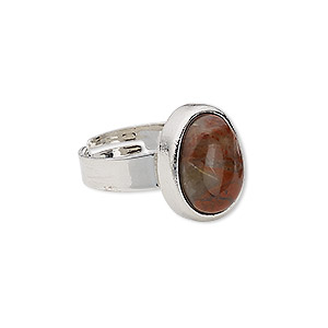 ring, brecciated jasper (natural) with silver-plated steel and pewter (zinc-based alloy), 16x13mm-17x14mm oval, adjustable from size 5-9. sold individually.