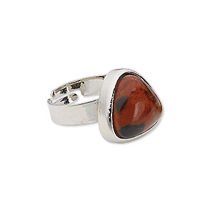 ring, brecciated jasper (natural) with silver-plated steel and pewter (zinc-based alloy), 16x16x16mm-17x17x17mm triangle, adjustable from size 5-9. sold individually.