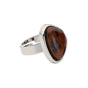 ring, brecciated jasper (natural) with silver-plated steel and pewter (zinc-based alloy), 22x17x17mm-22x18x17mm triangle, adjustable from size 5-9. sold individually.