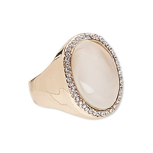 ring, cats eye glass / egyptian glass rhinestone / rose gold-finished pewter (zinc-based alloy), white and clear, 25x20mm oval, size 9. sold individually.
