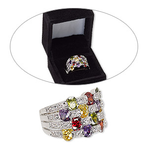 ring, cubic zirconia and rhodium-finished brass, multicolored, 16mm wide with 4-row design, size 8. sold individually.