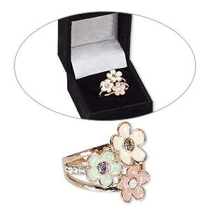 ring, czech glass rhinestone / enamel / rose gold-finished brass, multicolored, 21mm wide with flowers, size 8. sold individually.