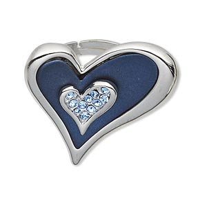 ring, czech glass rhinestone / rubber / imitation rhodium-plated pewter (zinc-based alloy), dark blue and blue, 32x32mm heart, adjustable. sold individually.