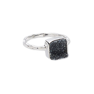 ring, druzy (dyed) and sterling silver, black, 10mm wide with square, size 9. sold individually.