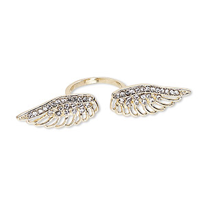 ring, egyptian glass rhinestone and gold-finished pewter (zinc-based alloy), clear, 65x13mm wings, size 9. sold individually.