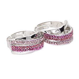 ring, egyptian glass rhinestone and imitation rhodium-plated pewter (zinc-based alloy), pink and dark pink, 12mm double band, adjustable size 8-3/4. sold individually.