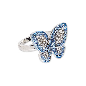 ring, egyptian glass rhinestone and imitation rhodium-plated pewter (zinc-based alloy), blue and clear, 22x20mm butterfly, size 9. sold individually.