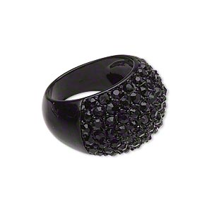 ring, enamel / acrylic rhinestone / pewter (zinc-based alloy), black, 16mm wide, size 7-1/2. sold individually.