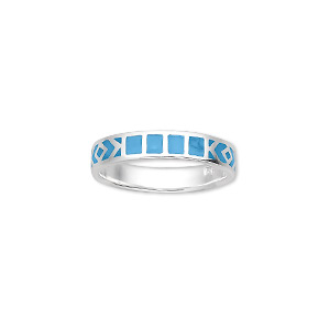 ring, enamel and sterling silver, blue, 4mm wide, size 6. sold individually.