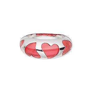 ring, epoxy and imitation rhodium-finished brass, red, 9mm wide with heart cutout design, size 8. sold individually.