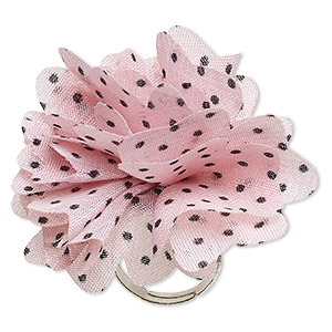 ring, fabric and silver-finished steel, light pink and black, 46x46mm-50x50mm flower with polka dots, adjustable. sold individually.