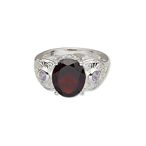 ring, garnet / amethyst (natural) / sterling silver, 12mm wide with 12x10mm faceted oval and 3mm faceted round, size 7. sold individually.