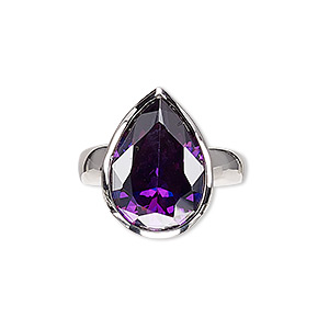 ring, glass and rhodium-plated brass, purple, 20x15mm teardrop, size 8. sold individually.