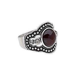 ring, glass rhinestone / resin / antique silver-plated pewter (zinc-based alloy), brown and clear, 19mm wide with round, size 8. sold individually.