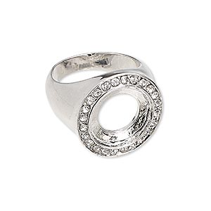 ring, glass rhinestone and imitation rhodium-finished pewter (zinc-based alloy), clear, 20mm wide with 14mm rivoli setting, size 7-1/2. sold individually.