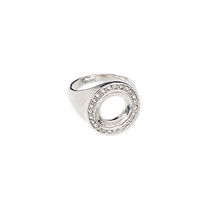 ring, glass rhinestone and imitation rhodium-finished pewter (zinc based alloy), clear, 20mm wide with 14mm rivoli setting, size 9. sold individually.