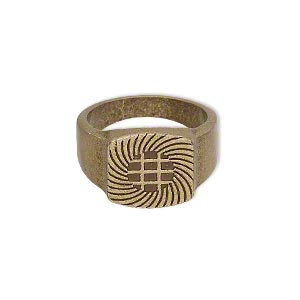 ring, glue-on, antique brass-plated pewter (zinc-based alloy), smooth band with 13x13mm flat base, size 7.5. sold individually.