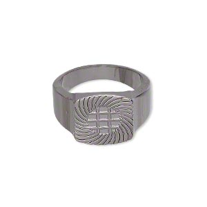 ring, glue-on, black-plated pewter (zinc-based alloy), smooth band with 13x13mm flat base, size 7.5. sold individually.