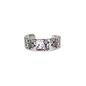 ring, imitation rhodium-finished carbon steel, black and pink, 6mm wide with cherry blossom design, adjustable. sold per pkg of 4.