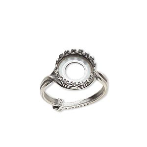ring, jbb findings, antique silver-plated brass, 12mm round with 10mm round bezel setting, adjustable from size 6-8. sold individually.
