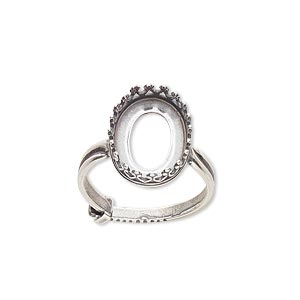 ring, jbb findings, antique silver-plated brass, 15.5x12mm oval with 14x10mm oval bezel setting, adjustable from size 6-8. sold individually.