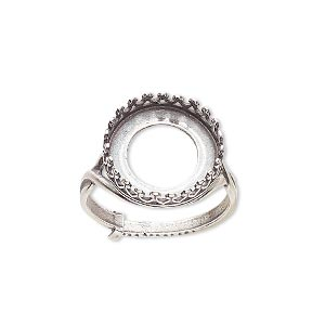 ring, jbb findings, antique silver-plated brass, 16mm round with 14mm round bezel setting, adjustable from size 6-8. sold individually.