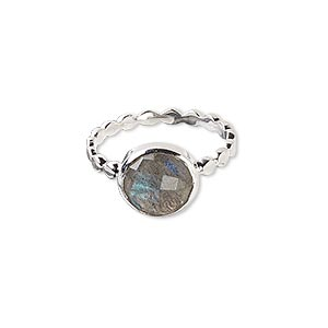 ring, labradorite (natural) and sterling silver, 11mm round with 10mm faceted round, size 7-1/2. sold individually.